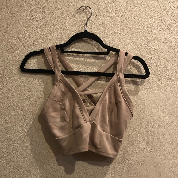Charlotte Russe Nude Strappy Crop Top